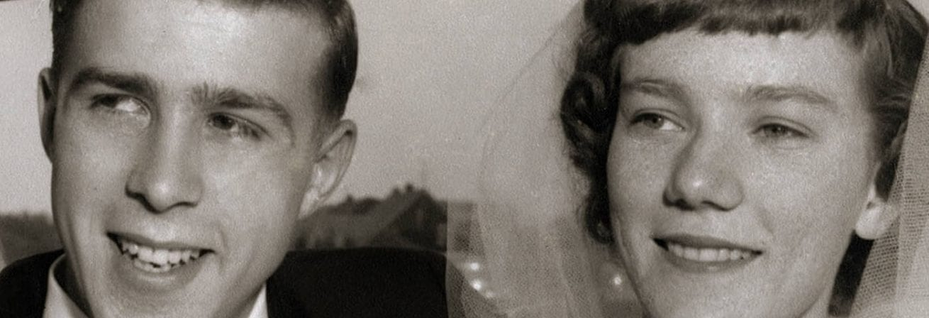 Peter and Joan's black and white wedding day photo